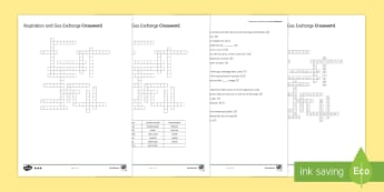 KS3 Respiration and Gas Exchange Crossword - Crossword, respire, respiration, gas exchange, lungs, alveoli, oxygen, carbon dioxide, o2, co2, gluc