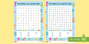 Numbers 0 to 10 Word Search German - Numbers, Counting, German, word search, writing, words, maths, numeracy, activity, game, mfl, ks1, k