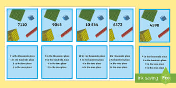 Place Value up to 10 000 Matching Cards  - Australian Curriculum Number and Algebra, place value, year 3, 10 000, number, numbers, matching gam