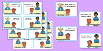 How Could I Fill a Bucket Today Cards - have you filled a bucket today, filling buckets, Carol McCloud, cards, flashcards, happyness, children