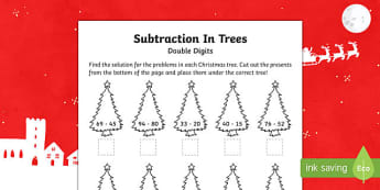 Double digit subtraction Christmas Activity Sheet-Australia