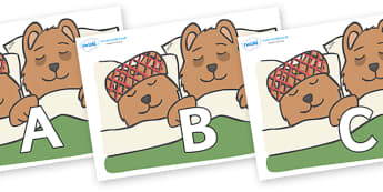 A-Z Alphabet on Mummy & Daddy Bear - A-Z, A4, display, Alphabet frieze, Display letters, Letter posters, A-Z letters, Alphabet flashcards