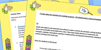 P Scales Ideas Activities Tracking Progress Maths Using Applying