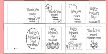 Mother's Day Card Templates Colouring Romanian Translation - romanian, Design, Mother's day card, Mother's day cards, Mother's day activity, Mother's day resource, card, card template,  colouring, fine motor skills