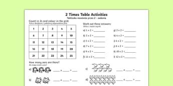 2 Times Table Activity Sheet English English/Polish
