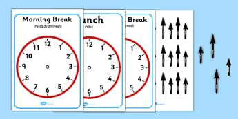 Split Pin Display Clocks Romanian Translation - EAL, translated, bilingual, clock, time