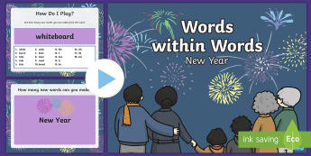 Words within Words Game   New Year PowerPoint - KS1/KS2 EAL Words in Words
