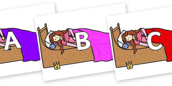 A-Z Alphabet on Sleeping Beauty Bed - A-Z, A4, display, Alphabet frieze, Display letters, Letter posters, A-Z letters, Alphabet flashcards
