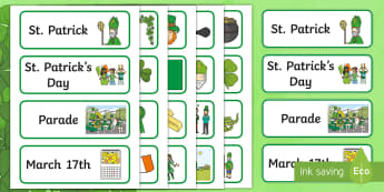 ROI St. Patrick's Day Aistear Word Cards - Aistear, Infants, English Oral Language, School, The Garda Station, The Hairdressers, The Airport, T
