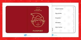 Elf Passport Writing Frame - christmas, elf, passport, writing