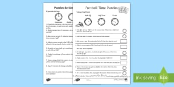 Football Themed Time Activity Sheet English/Spanish - Football Themed Differentiated Time Activity Sheets - football, soccer, euro 2016, Euro2016, Timw, w