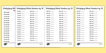 Multiplying Whole Numbers by 10 A5 Activity Sheet - multiplying, whole numbers, by 10, activity, sheet, worksheet