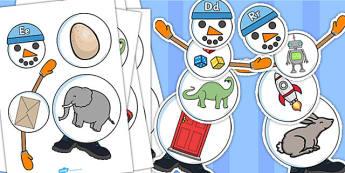 Build a Snowman Alphabet Activity - alphabet, activity, snowman