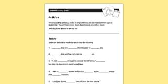 KS3 English Curriculum Activity Sheet Articles - ks3, articles, english, curriculum, activity sheet, activity, worksheet