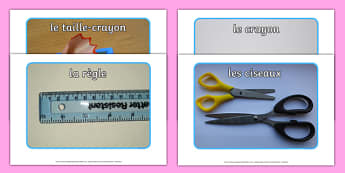 School Objects Photo Pack French-French