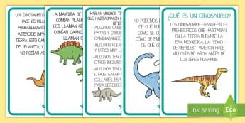 Tarjetas informativas: Los dinosaurios - Dinosaurios, pre-historia, dinos, tiranosaurio, estegosaurio, triceratops, proyectos, aprendizaje ba
