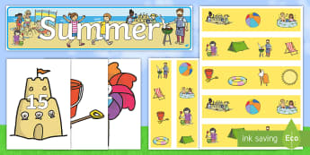 Summer Display Pack - Summer, summer display, display wall,  counting, summer resources, summertime, summer time.