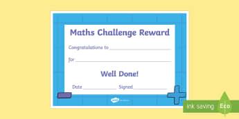 Maths Challenge Reward Certificate - Requests KS1, reward, certificate, achievement, well done, great word, effort, award, maths award, NSPCC number day, number day