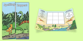 Dinosaur Themed Blank Spelling Zapper - spelling zapper, spell, spelling, zapper, dyslexic, dyslexia, learn, tricky words, personalise, words, blank, dinosaur