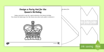 The Queen's Birthday Design a Party Hat Activity Sheet - KS1 The Queen's Birthday (21st April 2017), KS1 The Queen's Birthday, Worksheet,Key Stage One, Yea