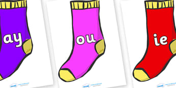 Phase 5 Phonemes on Socks - Phonemes, phoneme, Phase 5, Phase five, Foundation, Literacy, Letters and Sounds, DfES, display
