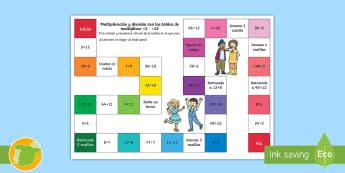 Juego de mesa: Multiplicación y división - x2 hasta x12 - multiplicar, dividir, mates, matemáticas, multiplciación, división, tablas de multiplicar, tabla