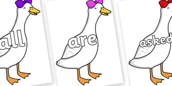 Tricky Words on Ducky Lucky - Tricky words, DfES Letters and Sounds, Letters and sounds, display, words