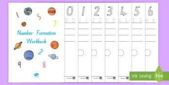 Space Themed Number Formation Workbook - New Zealand, maths, number formation, numbers, numerals, to 20, Years 1-3, handwriting, number recog
