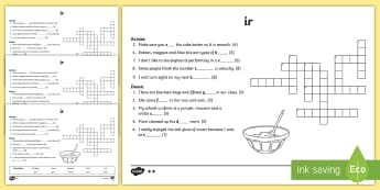 'ir' Digraph Differentiated Crossword - ir, jolly phonics, jolly grammar, reading, phonics, spelling, writing, ,Irish