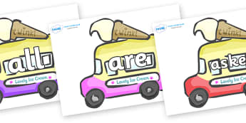 Tricky Words on Ice Cream Vans - Tricky words, DfES Letters and Sounds, Letters and sounds, display, words