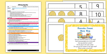 Pancake Count EYFS Busy Bag Plan And Resource Pack - shrove Tuesday, count, maths