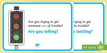 Tattling or Telling Display Posters - New Zealand, Class Management, Tattling, Tattle, Tell, Behaviour Management