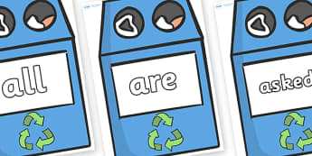 Tricky Words on Eco Bins - Tricky words, DfES Letters and Sounds, Letters and sounds, display, words