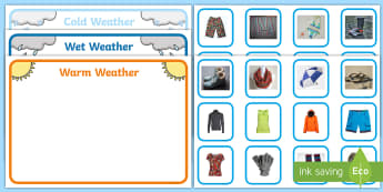 Workstation Pack: Weather Clothes Photo Sorting Activity Pack - Workstation Pack, TEACCH, clothes, seasons, weather, sorting