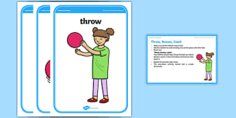 Foundation PE (Reception) Throw Bounce Catch Cool-Down Activity Card - physical activity, foundation stage, physical development, games, dance, gymnastics