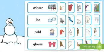 Winter Topic Word Cards - Winter, winter words, Word card, flashcard, snowflake, snow, winter, frost, cold, ice, hat, gloves, display words