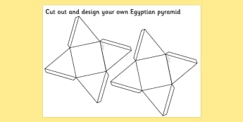 Egyptians Pyramid Net - pyramid net, triangle net, egyptian pyramid, miniature pyramid, paper pyramid net, design a pyramid, ancient egypt, ks2 history