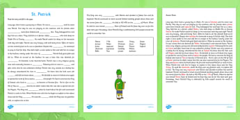 Saint Patrick Cloze Activity with Word Bank Third and Fourth Class - gaeilge, Saint Patrick, cloze, reading, religion, Ireland, answers