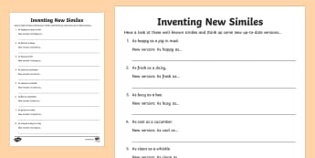 KS2 Inventing New Similes Activity Sheet - similes and metaphors, metaphor, simile, smile, figurative, language, writing, vocabulary, poem, poe