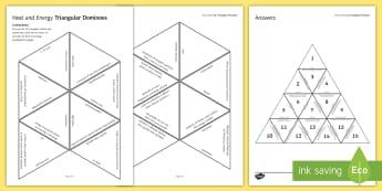 Heat and Energy Tarsia Triangular Dominoes - Tarsia, gcse, physics, conduction, convection, radiation, heat, energy, energy transfer, specific he, plenary activity