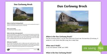 Dun Carloway Broch Information Cards - Dun Carloway, Isle of Lewis, Broch, Iron Age, Ancient sites, scottish landmarks,Scottish