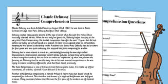 Claude Debussy Reading Comprehension Activity - claude, debussy, sheet