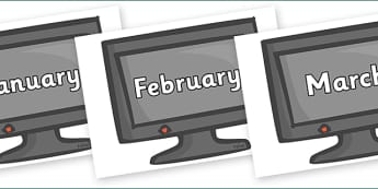 Months of the Year on Computer Monitors - Months of the Year, Months poster, Months display, display, poster, frieze, Months, month, January, February, March, April, May, June, July, August, September