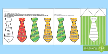 Father's Day Flap Tie Card Craft US English/Spanish (Latin) - Fathers Day Flap Tie Card Craft - fathers, day, flap, tie, card, australia, fathers day ideas, prese