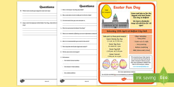 Easter Poster Comphrension Activity Sheet - NI Easter, Easter Eggs, Easter Show, Easter Poster, Comprehension, Easter Comprehension, Easter Ques