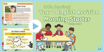 SATs Survival: Year 2 English Revision Morning Starter Weekly PowerPoint Pack - SATs Survival Materials Year 2, SATs, assessment, 2017, English, SPaG, GPS, grammar, punctuation, sp