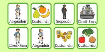 An t-Ollmhargadh The Supermarket Irish Gaeilge Role Play Badges-Irish