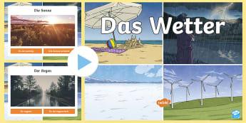 Das Wetter PowerPoint  - Wetter, Deutsch, German, weather, DAF, DAZ,German