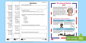 KS1 General Election Go Respond Activity Sheets - Reading, comprehension, explain clearly their understanding of what is read to them, understand what
