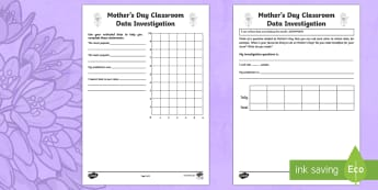 Mother's Day Classroom Data Investigation Activity Sheet - Mother's Day Maths, maths, mother, mother's day, mum, ACMSP069, data, data collection, classroom d
